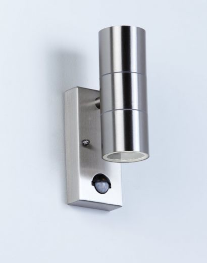 Canon Up/Down 240v - Polished Stainless Steel IP44 2 x GU10 Security Wall Light With PIR Sensor