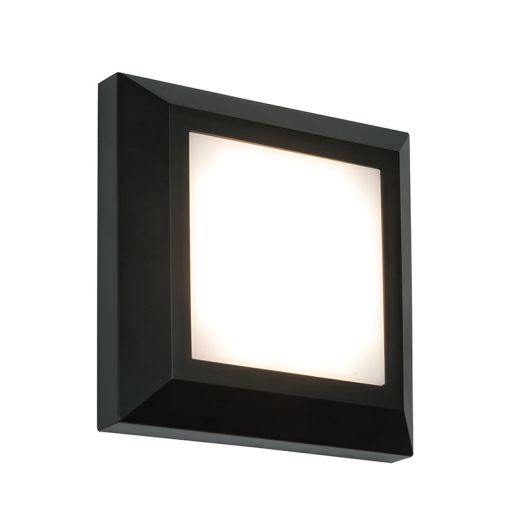 Severus square direct IP65 3W warm white wall - black abs plastic - 220 - 240v