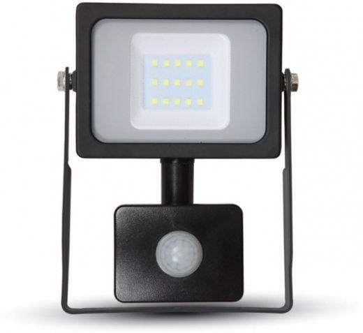 V-TAC - 240v - Black - 10w IP65 Warm White 3000k 800 lumens - Floodlight With PIR