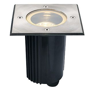 Dasar 80 - 230v GU10 - 316 Stainless Steel Bezel Aluminium Body IP67 30 Degree Tilt Square Recessed Spotlight
