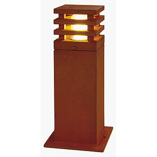 Rusty Square - Rusted Iron - FeCSi Steel IP55 Max Watts 11w E27 - 230v 400mm - Surface or Spike Bollard In 2 Heights