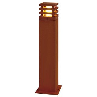 Rusty Square - Rusted Iron - FeCSi Steel IP55 Max Watts 11w E27 - 230v 700mm - Surface or Spike Bollard In 2 Heights