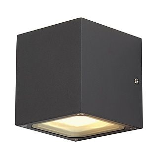 Sitra Cube - 240v - Anthracite Powder Coated Aluminium 2 x 9w max GX53 IP44 Up/Down Wall Light- Choice of 3 Colours