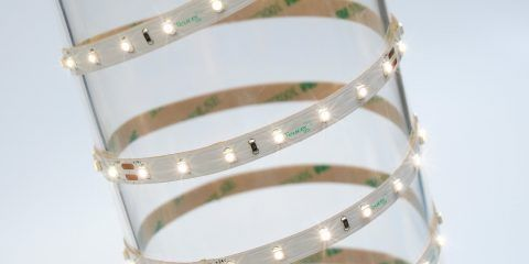 4.8w/m Single Colour LED Strip 70 LEDs per metre IP65 24v 120 degree beam angle in 5m lengths 2.2mm depth