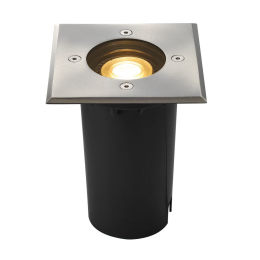Solasto - 230v GU10 - 304 Stainless Steel IP67 Fixed Square Recessed Spotlight Also Available With Round Bezel