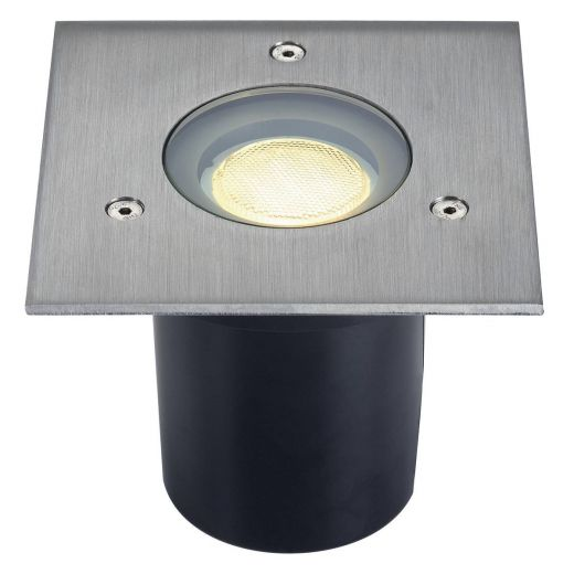 Adjust 135 - 240v - GU10 304 Stainless Steel IP67 Fixed Recessed Spotlight Square Bezel - 5 Ton Driveover