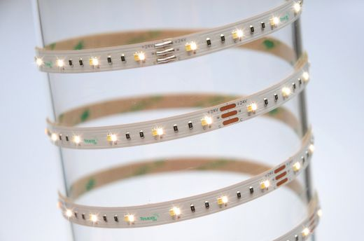 9.6w/m Tunable white 2700k to 6500k  LED Strip 120 LEDs per metre IP65 24v 120 degree beam angle in 5m lengths 5mm depth