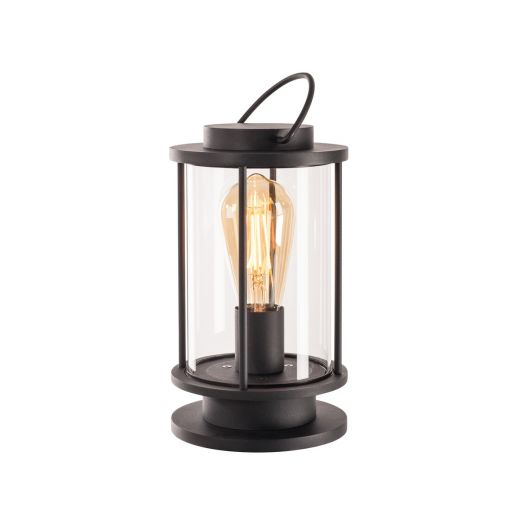 Photonia - Anthracite IP44 E27 240v Portable Outdoor Table Lantern Comes With 5m Of Cable