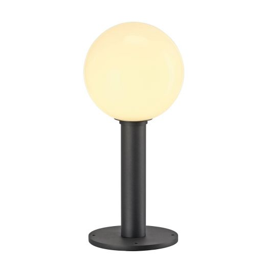 GLOO - Anthracite & Frosted Glass IP44 E27 230v Max Wattage 23w 44cm Height - Surface Or Spike Mount Bollard & 3 Heights