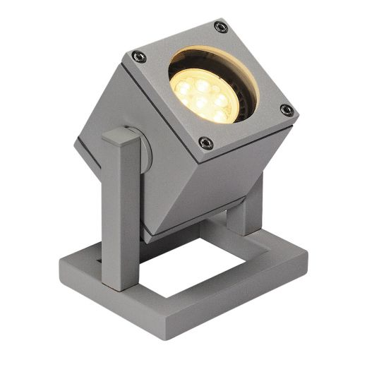 Cubix - Silver Grey GU10 240v Max 25w IP44 - Portable Surface Ground Light Available In Choice Of 2 Colours