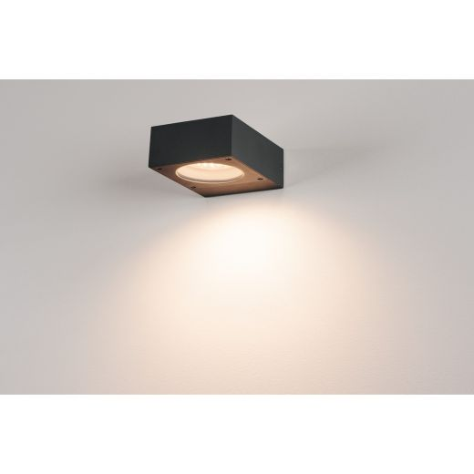 Quadrasyl - 240v Anthracite Aluminium & Glass Max 11w GX53 IP44 Surface Mounted Porch Light - Choice Of 2 Colours