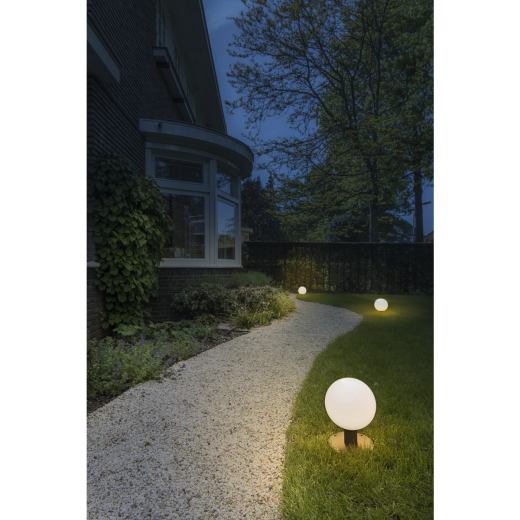 GLOO - Anthracite & Frosted Glass IP44 E27 230v Max Wattage 23w 27cm Height - Surface Or Spike Mount Bollard & 3 Heights