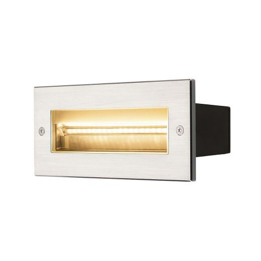 BRICK asymmetrical outdoor recessed wall light, LED, 3000K, stainless steel, 230V, IP65, 850lm 10w
