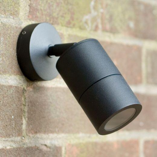 Compact 240v - Black Powder Coated Aluminium IP65 GU10 - Adjustable Spot Wall Light
