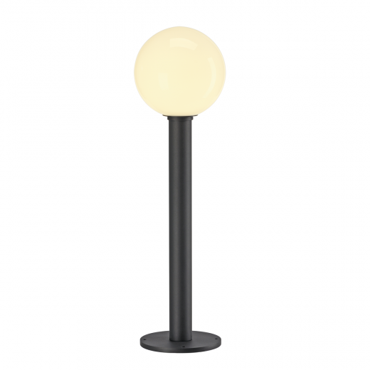 GLOO - Anthracite & Frosted Glass IP44 E27 230v Max Wattage 23w 70cm Height - Surface Or Spike Mount Bollard & 3 Heights