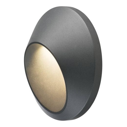 Delo - 240v Anthracite Aluminium 5.8w 3000k - 170 Lumens IP55 - Circular Wall Light
