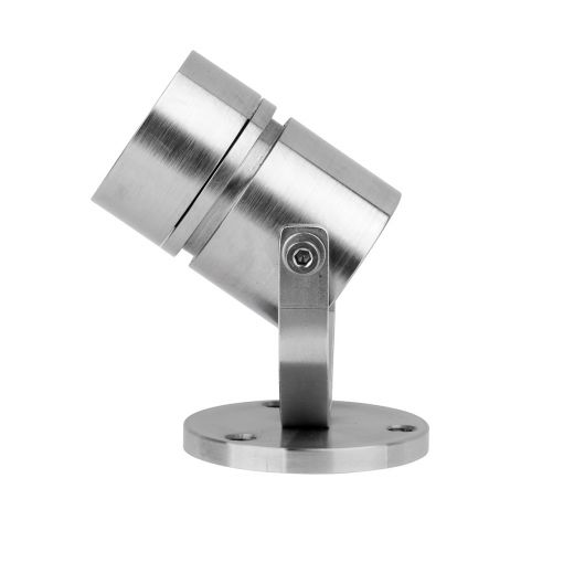 LV Surface Mounted Floor or Wall Light wth adjustable bracket. 316 Stainless Steel or Black. Made to order up to 4 weeks