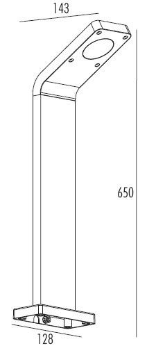 Insika -  Graphite Grey IP54 6w 3000k 240v 324 Lumens 650mm Height - Surface or Spike Mounted Bollard Light