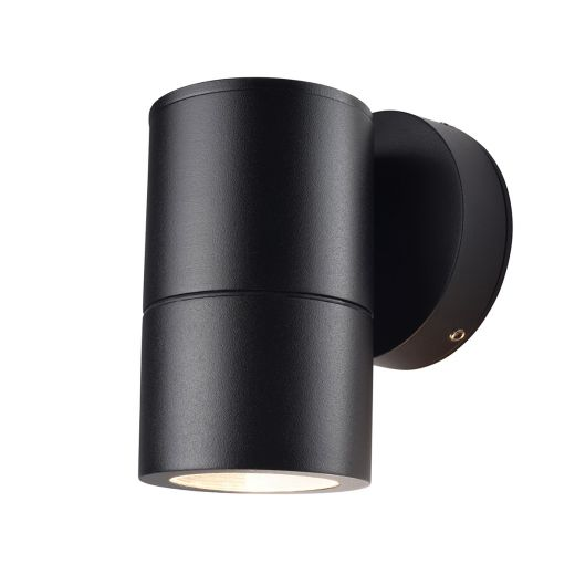 Compact 240v - Black Powder Coated Aluminium IP65 GU10 - Fixed Down Light Wall Light