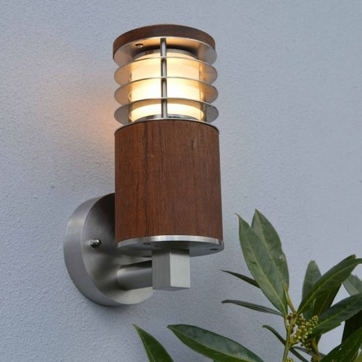 Nimbus 30 - 240v Natural Teak - Wall Light With Stainless Steel Louvres IP54 E27