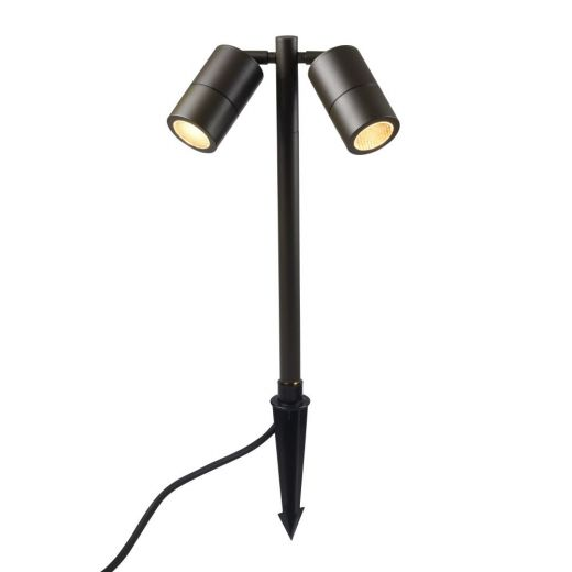 Pole Spot Duo - 12v Rustic Brown IP65 MR16 Twin Headed Spike Spotlight - Choice Of 4 Colour Finishes