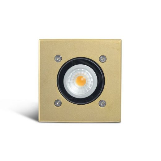 Modula - 12v Brass Bezel Aluminium 30 Degree Tilt Square Recessed Spotlight IP67 MR16 120mm Bezel