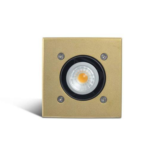 Modula - 240v Brass Bezel Aluminium 30 Degree Tilt Square Recessed Spotlight IP67 GU10 120mm Bezel