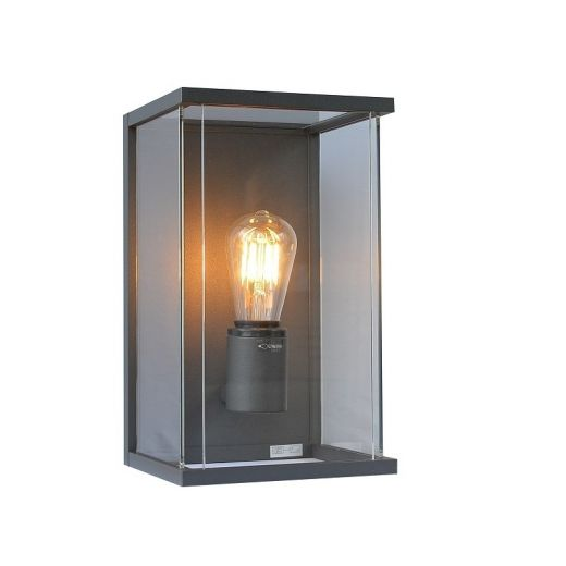 Kensington 240v Graphite Grey Powder Coated  Aluminium IP54 E27 Wall Light
