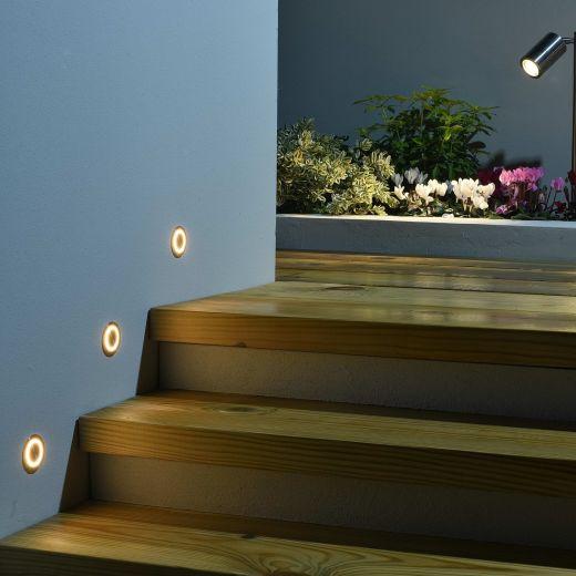 Meridian LED Marker Wall Light 12v/24v DC   2w 12lm 120 degree 2700K IP67 316 Stainless Steel