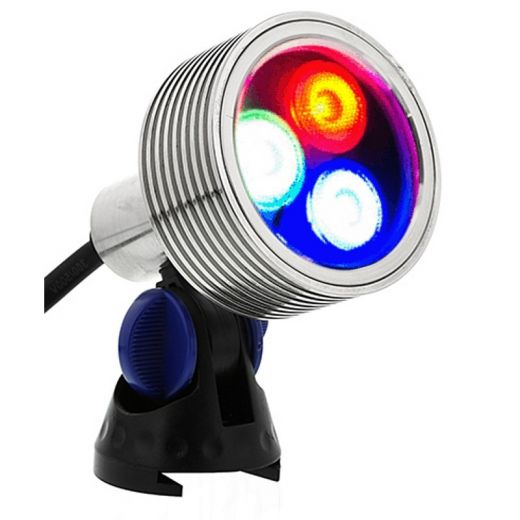 Brilliance - Underwater Light - 12v - Nickel Plated Brass Body - IP68 8W RGB Colour Change.  Plug & Play