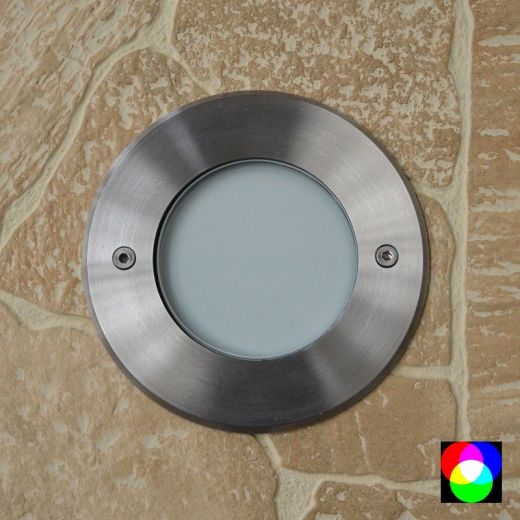 Walkover Opal Frosted - 24v 304 Stainless Steel RGB 5.4w 250 Lumens IP67 45 Degree Beam Fixed Round Recessed Light