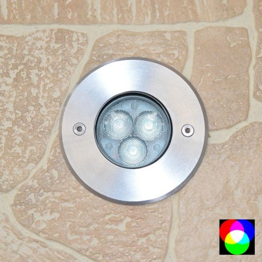 Walkover Quartz- 24v 304 Stainless Steel RGB 3.5w 250 Lumens IP67 30 Degree Beam Fixed Round Recessed Light
