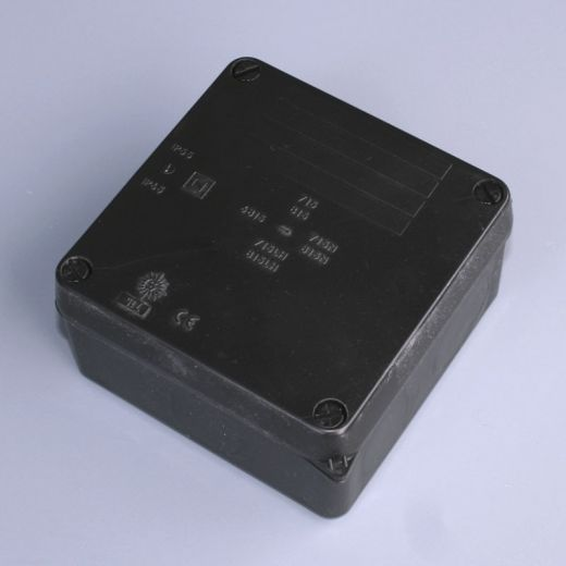 IP65 junction box (plain sides) - Black - 112 X 112 x 67mm