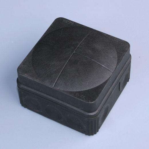 IP66 junction box c/w terminals/ membrane entries - Black - 75 x 75 x 50mm