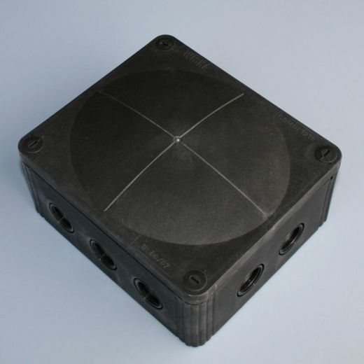 IP66 junction box c/w Membrane/20mm entries - Black - 160 x 140 x 80mm