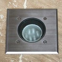 Modula - 240v 316 Stainless Steel Bezel Aluminium Body 30 Degree Tilt Square Recessed Spotlight IP67 GU10 120mm Bezel