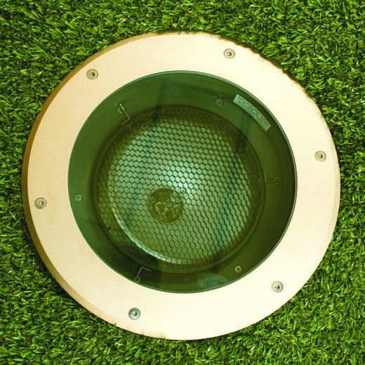 Olympus 70 - 240v Metal Halide Sandblasted Brass Bezel & Aluminium Body IP67 Recessed Light - Uses 70w CDMT Lamps