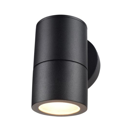 Compact 12v - Black Powder Coated Aluminium IP65 GU10 - Fixed Down Light Wall Light
