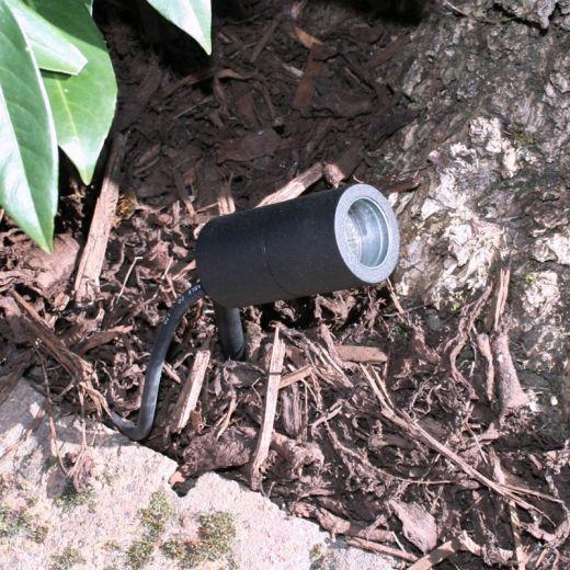 Microspot, 12v Black Powder Coated Aluminium IP65 MR11 Spike Spotlight