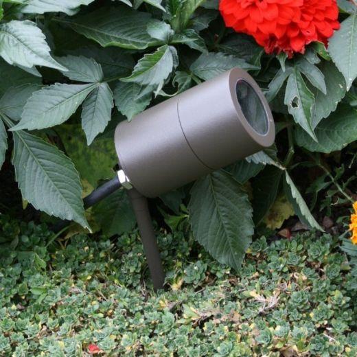 Compact Spike Spotlight - 240v - Rustic Brown - GU10, IP65