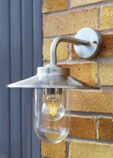 Stellus Modena - 240v - Stainless Steel IP44 E27 - Lantern - Down Light - Wall Light