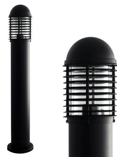 DOMUS Black Louvred Aluminium Path Light IP44 900mm Tall 240v E27 Max Watts 100w - Surface Mounted Bollard - 2 Heights