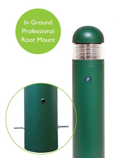 Lighthouse - Aluminium Green/Black IP65 E27 240v Root Mount Bollard + Photocell - Choice Of 3 Heights & 3 Head Options