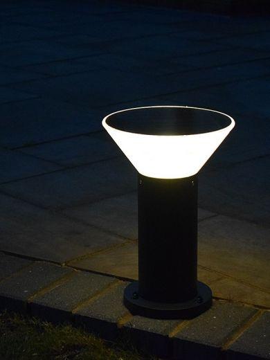 Pro Solar OLYMPIA – 380mm Black - Solar Pedestal Light with External Mounting Base 3000k or 6000k