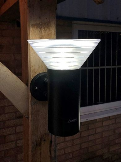 Pro Solar OLYMPIA – Large Black Solar Wall Light in cool white 6000k or warm white 3000k