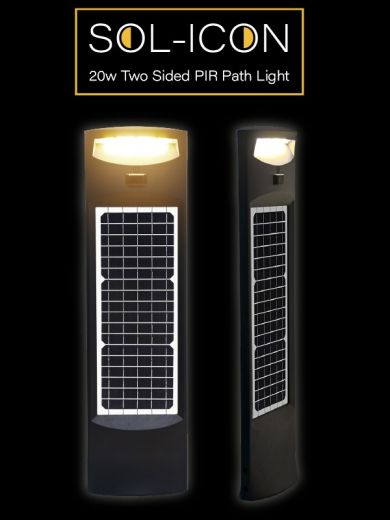 Pro Solar SOL-ICON – Two Sided PIR Black Solar Path Light in warm white or cool white LEDs