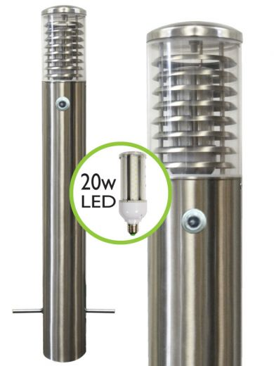 Stelled - 800mm - 316 Stainless Steel E27 220 - 240v IP65 Root Mounted Bollard with Photocell Choice of LED Lamp