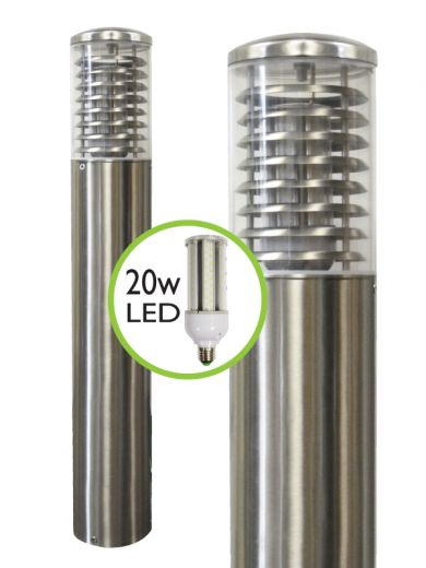 Stelled - 316 Stainless Steel E27 220- 240v IP65 - Surface Mounted Bollard - Choice Of 800mm or 1m Height & LED Lamp