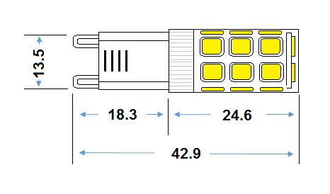 G9 LED 3w Capsule Lamp - 240v 3000K 300lm
