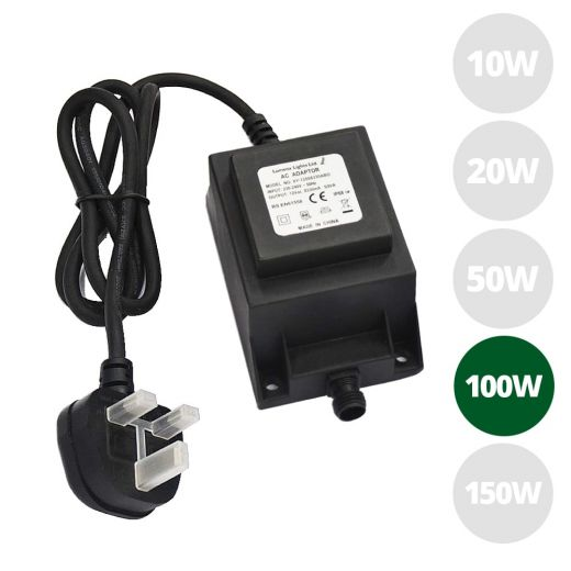 100w 12v AC IP68 open ended transformer with 1m of 3 core rubber cable & 3 pin UK plug